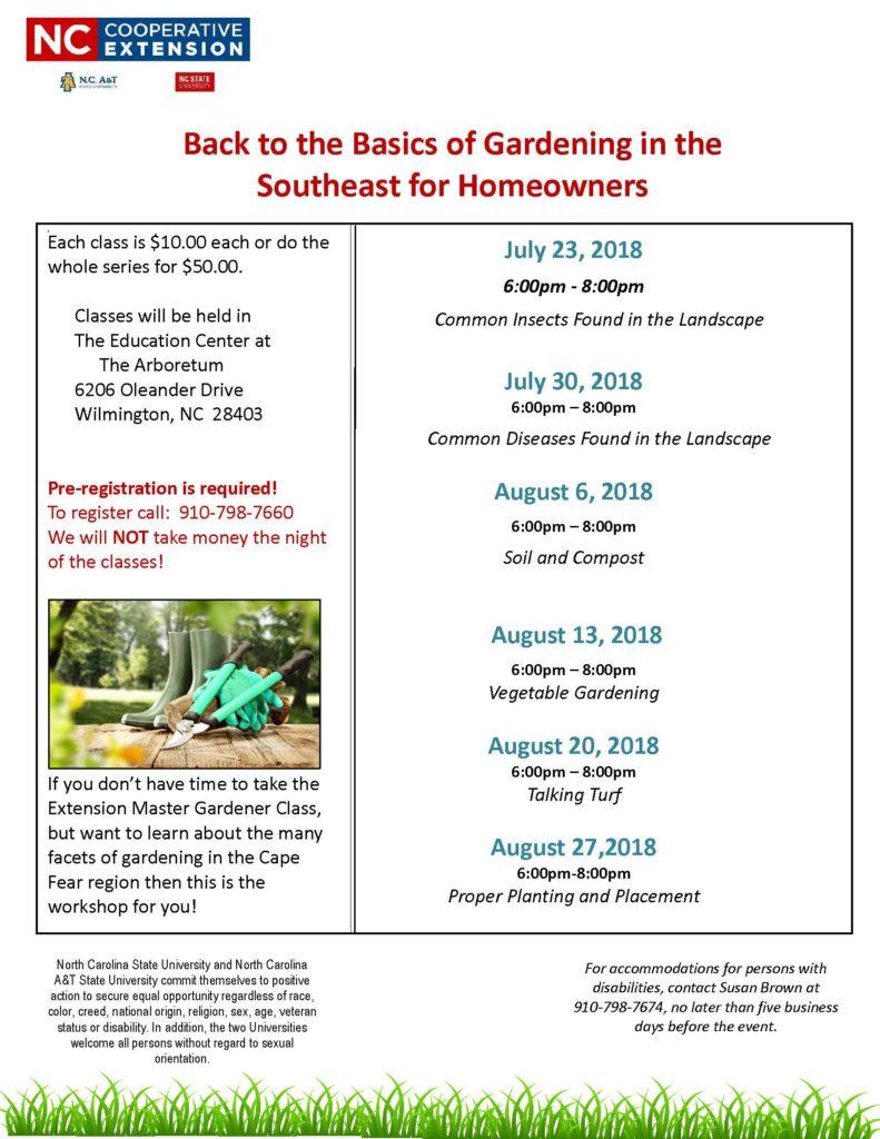 upcoming garden classes flyer